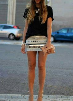 Mini skirt, aztec print, crystal, tan, sandals