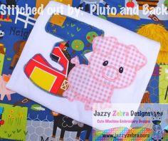 Three Pig Applique Design with Diagonal Square Stitching: Jazzy Zebra Designs