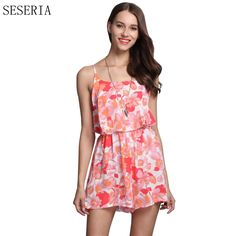 SESERIA Summer New Fashion Flower Print Women Sexy Backless Party Romper Sleeveless Hollow Out Slim Playsuit  #Affiliate