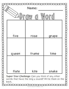 Draw a word Long Vowel edition. 17 worksheets included. Students will read the word and draw a picture to match.