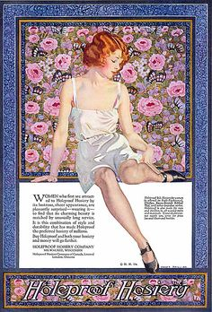 Vintage ad for hosiery / nylons  illustrated by Coles Phillips (1924)