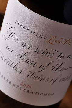 Calligraphy Wine on Packaging of the World - Creative Package Design Gallery Design Agency, Branding Design, Wine Brands, Wine Collection, Expensive Wine, Wine Packaging, Wine Quotes, Bottle Sizes, Article Design