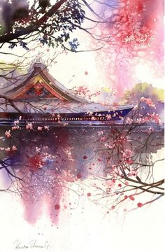 artwork by Kanta Harusaki. Kanta is a famous Japanese watercolorist who was born in Kumamoto. His watercolor work began at the age of 32 years. Fantasy Landscape, Landscape Art, Fantasy Art, Chinese Landscape, Japanese Painting, Japanese Art, Chinese Painting, Japanese Watercolor, Watercolor Landscape