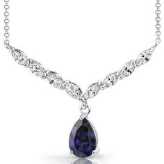 Carats Pear Shape London Blue Topaz & White CZ Necklace in Sterling Silver Style Sapphire Pendant, Amethyst Necklace, Pendant Necklace, Sterling Silver Necklaces, Silver Jewelry, Silver Pendants, Jewelry Box, Gold And Silver Rings, Necklace For Girlfriend
