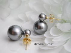 Your place to buy and sell all things handmade Double Pearl Earrings, Pearl Grey, Wedding Earrings, Etsy Earrings, Snowman, Swarovski Crystals, Frozen, Pearls, Sterling Silver