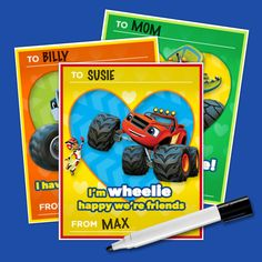 Print these sweet Valentine's Day cards for your Blaze and the Monster Machines fan!