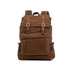 Abshoo Vintage Backpack Large Travel Canvas Rucksack Backpacks Coffee ** Visit the image link more details.