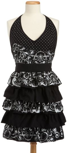 46dcc34cb97c DII Black/Silver Acanthus Printed Full Apron with Tiers of Multi-Pattern  Ruffles Retro