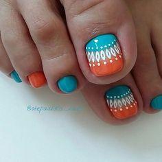Top 30 Pedicure Nail Art Design That Are Easyi Pretty Toe Nails, Cute Toe Nails, Toe Nail Art, Pretty Toes, Pedicure Designs, Manicure E Pedicure, Toe Nail Designs, Pedicures, Orange Toe Nails