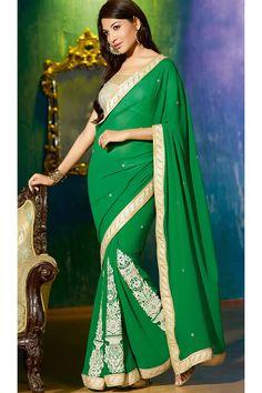Designer Border Work Indian Party Wear Saree.