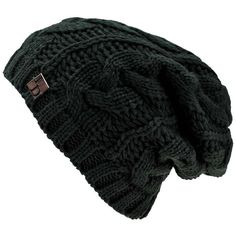 e7b872c7391 Black Oversize Slouchy Cable Knit Unisex Beanie Cap Hat ( 15) ❤ liked on  Polyvore