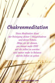 Deine Chakren - Reinigung, Stärkung und Schutz Eine kostenlose Meditation, gechannelt von Gabriela Linshalm Jedes der sieben Hauptchakren, steht für einen bestimmten Lebensbereich. Wenn alle Chakren einwandfrei und gleichmäßig arbeiten, fühlen wir uns gesund und zufrieden. Hol sie dir hier. Meditation, Chakras, Lenses, Health, Gifts, Zen