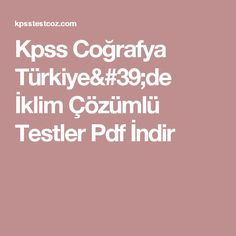 Kpss Coğrafya Türkiye'de İklim Çözümlü Testler Pdf İndir