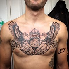 The fandom of Irish tattoos has increased to millions due to the popularity of Celtic art. You will see a lot of Celtic tattoos Eagle Chest Tattoo, Cool Chest Tattoos, Chest Piece Tattoos, Eagle Tattoos, Cool Tattoos For Guys, Arm Tattoo, Body Art Tattoos, Small Tattoos, Sleeve Tattoos