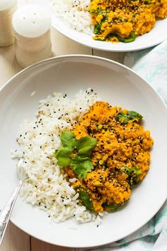 This Slow Cooker Butternut Squash Dal is made with red lentils, chunks of butternut squash and baby spinach - it's an easy one-pot meal!