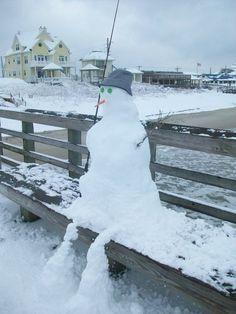 Surf City , NC unusual site - snow on the beach