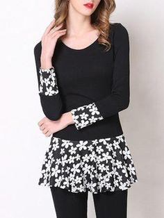 Stylish Floral Pattern Spliced Peplum Women's T-Shirt
