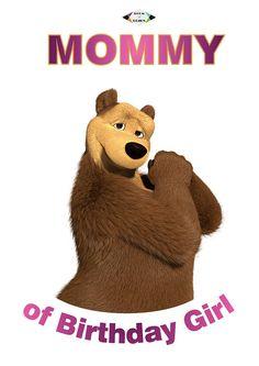 Masha and the bear Iron On Transfer. Mammy Mom Mommy Masha and the bear Birthday Shirt. Masha e orso Bear Birthday, Twin Birthday, Birthday Shirts, Marsha And The Bear, 2nd Birthday Party Themes, Birthday Ideas, Teddy Bear Cartoon, Bear Party, Iron On Transfer