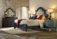 Sanctuary Queen Upholstered Panel Bed in Black by Hooker Furniture - Home Gallery Stores