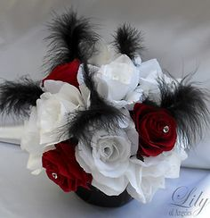 Black white and red are all in the centerpiece