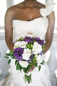 Green, purple and white wedding flowers