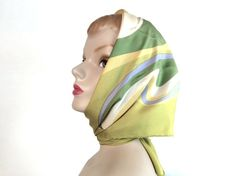 Vintage 1960s, Women's Silk Scarf, Olive Green, Sky Blue, Gold, White, Swirly Wave Pattern, Silk, Label: Yves Saint Laurent, Paris, Large