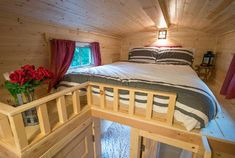 Scarlett tiny house on wheels at Mt. Hood Tiny House Village and you're welcome to come on in to take the full tour inside! Tiny House Bedroom, Tiny House Loft, Small Tiny House, Tiny House Trailer, Tiny Houses For Sale, Tiny House Living, Tiny House Plans, Tiny House Design, Tiny House On Wheels