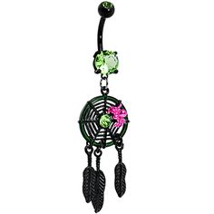 Peridot Green Gem Black Spider Web Dreamcatcher Belly Ring | Body Candy Body Jewelry #bodycandy #piercings #bellyring