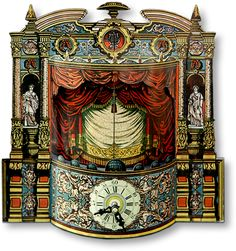 Featuring a replica of a 19th century German Joseph Scholz proscenium, this is a Cuckoo Crèche. On the hour, the curtains open to reveal an animated scene of The Nativity, and then the large, lyre-decorated, half-round doors above the proscenium open, and the cuckoo calls. found on PaperModelKiosk.com site at http://www.papermodelkiosk.com/php/forum/entry.php?90-Collin-a-six-year-old-cr%C3%A8che-enthusiast-inspires-an-Advent-Cuckoo