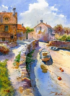 Beautuful Watercolor painting by Spanish artist Faustino Martin Gonzalez. Watercolor Architecture, Watercolor Landscape, Landscape Art, Landscape Paintings, Abstract Paintings, Art Aquarelle, Watercolor Artists, Watercolour Painting, Watercolours