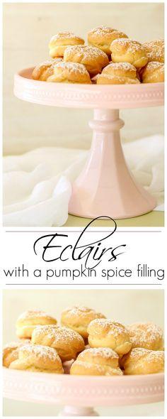 Eclairs with a pumpkin spice filling. ValentinasCorner.com