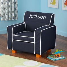 Personalized Navy Toddler Chair with Slip Cover