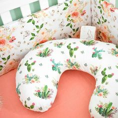 Boho inspired nursery bedding for your little girl. Girl nursery decor is so fun and vibrant these days pick something that will stand out and be unique. THis floral girls crib sheet and boppy cover make the perfect gifts as well #baby #newborn #git #babyshower #cribbedding #babybedding #newbornbedding #love #shopping #bedding   Boho cactus and floral baby bedding Peach Baby Nursery, Cow Nursery, Baby Girl Nursery Bedding, Aztec Nursery, Baby Room, Nursery Decor, Peach Bedding, Aztec Bedding, Baby Teepee