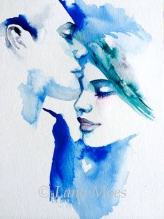 Love Romance Kiss Print from Original Watercolor from Romantic Bliss collection by Lana Moes, #love, #watercolor, #blues