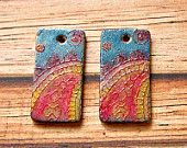 Two Bohemian Inspired Artisan Earring Beads, Polymer Clay, Earring Components, Topkapi Lace Collection - Bead Lovelies