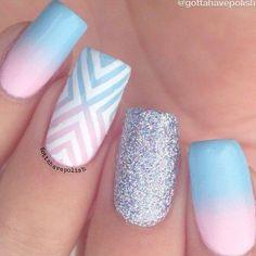 Nail Art Designs, Acrylic Nail Designs, Nails Design, Best Acrylic Nails, Summer Acrylic Nails, Pastel Nail Art, Ombre Nail Art, Pastel Blue Nails, Nail Stencils