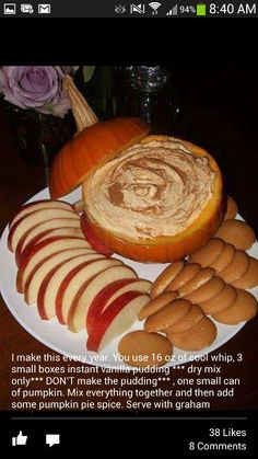 Pumpkin dip. I think this is e recipe that I used last time.  How did I ever remember recipes before Pinterest?