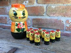 Chat et chatons Babushka russe Matryoshka Nesting par CandilandArt