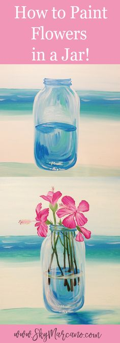 How to paint flowers in a glass jar. Click to read more about the creative process!! #pinkflowers #flowerpainting #howtopaintflowers