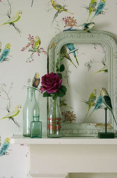 One of our favourite #bird #wallpaper designs this is Chirpy by Blendworth