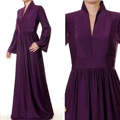 3792 Classic Purple Standing Neck Bell Sleeved Abaya - Size S/M US$34 FREE SHIPPING WORLDWIDE  Buy It Here --> http://shop.pe/crp60