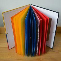 Álbum de fotos em scrapbook (visão geral das divisórias e páginas internas)