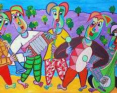 Painting Beach Boys by Twan de Vos, 5 musician playing with fun music, flute, accordion, bass drum and bass