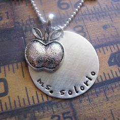 custom hand stamped silver teacher necklace - personalize with teacher's name