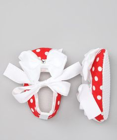 Take a look at this Red & White Polka Dot Swarovski Booties by Diva Daze on #zulily today!