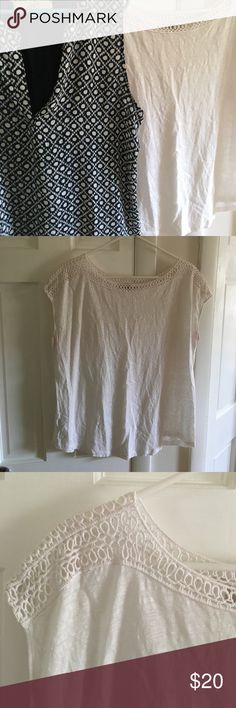 Two Loft shirts - XL Loft summer tops. White is cotton with decorated neckline. Navy blue is rayon in front and polyester in back. LOFT Tops Blouses