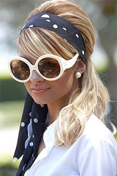 Nicole Richie w/ a scarf in her hair. So cute. It kinda  has a 60s feel to it!