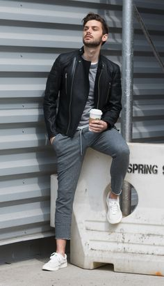 try this unexpectedly trendy combination of sweats and leather jacket outfit for men