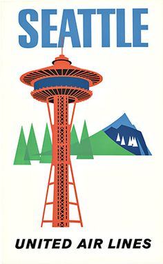 Seattle Space Needle - United Air, Anonymous Artists.  Original linen backed travel poster by United Air Lines to Seattle. The original poster features the famous Space Needle that was built for the World's Fair in the evergreen state. In the style of modernism poster art this vintage travel poster is rare difficult original to find today.