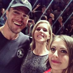 Willa Holland, Stephen Amell and Emily Bett Rickards